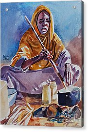Cooking Morning Acrylic Print by Mohamed Fadul