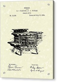 Cooking Stove 1884 Patent Art Acrylic Print by Prior Art Design