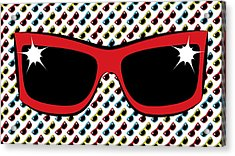 Cool 90's Sunglasses Red Acrylic Print