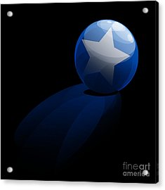 Acrylic Print featuring the digital art Blue Ball Decorated With Star Grass Black Background by R Muirhead Art