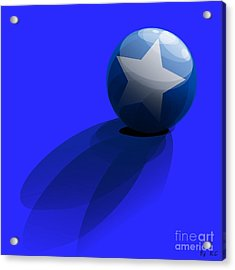 Acrylic Print featuring the digital art Blue Ball Decorated With Star Grass Blue Background by R Muirhead Art