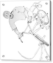 Cool Bmx Drawing Acrylic Print by Mike Jory