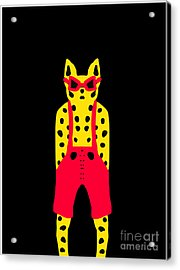 Cool For Cats In Red Dungarees Acrylic Print