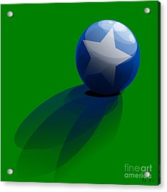 Acrylic Print featuring the digital art Blue Ball Decorated With Star Grass Green Background by R Muirhead Art