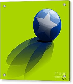 Acrylic Print featuring the digital art Blue Ball Decorated With Star Green Background by R Muirhead Art