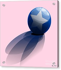Acrylic Print featuring the digital art Blue Ball Decorated With Star by R Muirhead Art