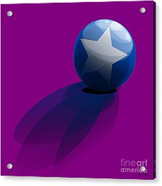 Acrylic Print featuring the digital art Blue Ball Decorated With Star Purple Background by R Muirhead Art