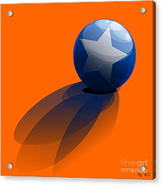 Acrylic Print featuring the digital art Blue Ball Decorated With Star Orange Background by R Muirhead Art