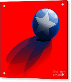 Acrylic Print featuring the digital art Blue Ball Decorated With Star Red Background by R Muirhead Art