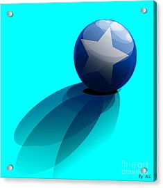 Blue Ball Decorated With Star Turquoise Background Acrylic Print
