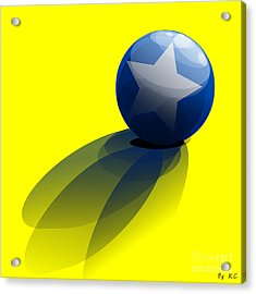 Blue Ball Decorated With Star Yellow Background Acrylic Print