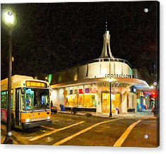 Coolidge Corner In Brookline At Night Acrylic Print by Mark E Tisdale