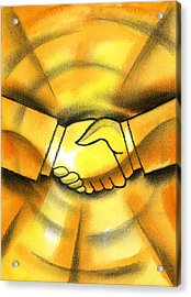 Cooperation Acrylic Print by Leon Zernitsky