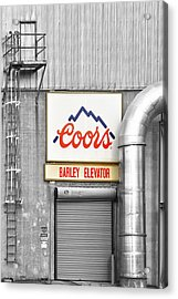 Coors Barley Elevator Bw Color Acrylic Print by James BO  Insogna