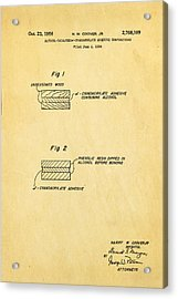 Coover Superglue Patent Art 1956 Acrylic Print by Ian Monk