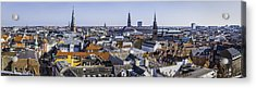 Copenhagen Spires And Rooftops Panorama Over Central Cityscape Denmark Acrylic Print by fotoVoyager