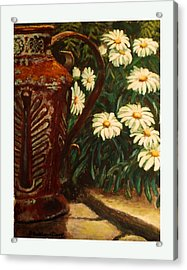 Copper And Daisies Acrylic Print