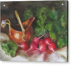 Acrylic Print featuring the painting Copper Pot And Radishes Still Life Painting by Cheri Wollenberg