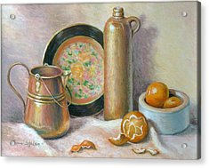 Copper Pot With Tangerines Acrylic Print by Theresa Shelton