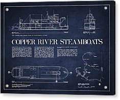 Copper River Steamboats Blueprint Acrylic Print