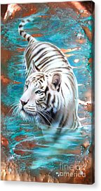 Copper White Tiger Acrylic Print