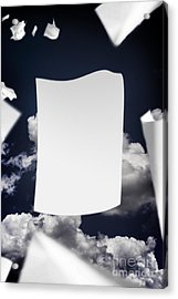 Copyspace Paper Document Flying In The Wind Acrylic Print