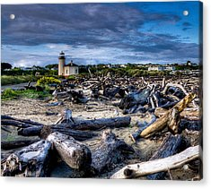 Coquille River Lighthouse And Driftwood Acrylic Print