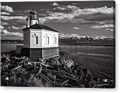 Coquille River Lighthouse Upriver Bw Acrylic Print by Joe Hudspeth