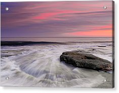 Coquina Rocks Washed By Ocean Waves At Colorful Sunset Acrylic Print