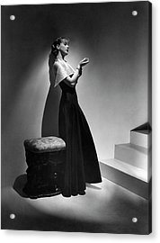 Cora Hemmet Wearing A Gown With Lame Revers Acrylic Print by Horst P. Horst