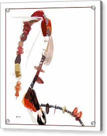 Coral And Black Glass Beads Acrylic Print by Gretchen Wrede
