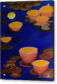 Acrylic Print featuring the painting Coral Lily Pond by Anita Lewis