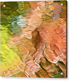 Coral Mosaic Abstract Square Acrylic Print by Christina Rollo