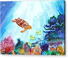 Acrylic Print featuring the painting Coral Reef by Donna Walsh