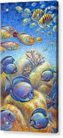 Acrylic Print featuring the painting Coral Reef Life II by Nancy Tilles