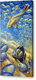 Acrylic Print featuring the painting Coral Reef Life IIi by Nancy Tilles