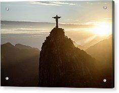 Corcovado At Sunset, Rio De Janeiro Acrylic Print