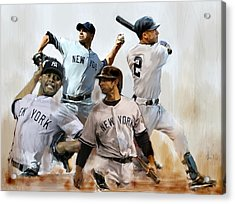 Core  Derek Jeter Mariano Rivera  Andy Pettitte Jorge Posada Acrylic Print by Iconic Images Art Gallery David Pucciarelli