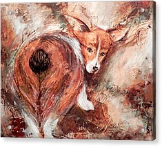 Acrylic Print featuring the painting Corgi Butt by Patricia Lintner