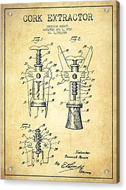 Cork Extractor Patent Drawing From 1930 - Vintage Acrylic Print