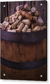 Corkscrew And Corks On Wine Barrel Acrylic Print by Garry Gay