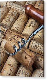Corkscrew On Corks Acrylic Print by Garry Gay