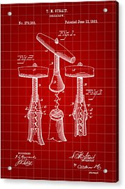 Corkscrew Patent 1883 - Red Acrylic Print by Stephen Younts