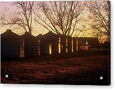 Acrylic Print featuring the photograph Corn Cribs At Sunset by Rodney Lee Williams