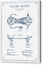 Cornelius Roller Skate Patent Drawing From 1881  - Blue Ink Acrylic Print by Aged Pixel