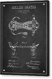 Cornelius Roller Skate Patent Drawing From 1881 - Dark Acrylic Print by Aged Pixel