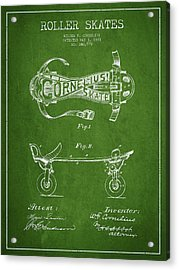 Cornelius Roller Skate Patent Drawing From 1881 - Green Acrylic Print by Aged Pixel