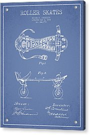 Cornelius Roller Skate Patent Drawing From 1881 - Light Blue Acrylic Print by Aged Pixel