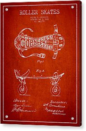 Cornelius Roller Skate Patent Drawing From 1881 - Red Acrylic Print by Aged Pixel