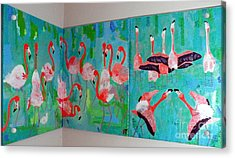 Corner Flamingos Acrylic Print